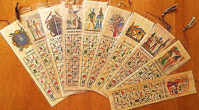 10 ps Egyptian Papyrus genuine hand painted Hathor Anubis and Ramses bookmark