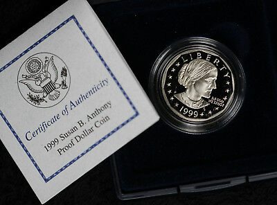 1999-P Susan B. Anthony Proof Dollar Coin in Mint Box and COA