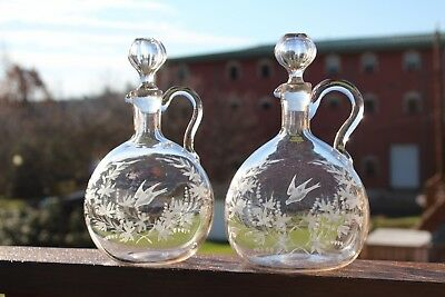 WONDERFUL PAIR OF ANTIQUE HANDLED ETCHED GLASS DECANTERS w/ FLORAL & BIRDS