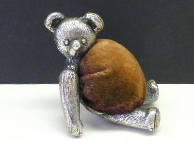Antique Figural TEDDY BEAR Silvered Metal Bronze Pin Cushion Victorian Novelty