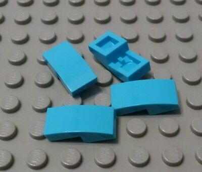 New LEGO Lot of 4 Medium Azure 2x1 Curved Slope Pieces