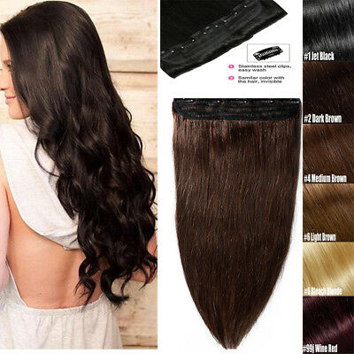 """One Piece Clip in Human Hair Extensions Extension Remy Hair 16""""18""""20""""22"""" Long AU"""