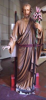 """+ 90 Year Old Cast Limestone Statue of St. Joseph + 62"""" ht. + chalice co."""