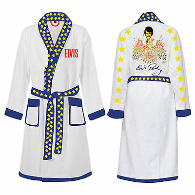 Elvis Presley Mens White Printed Satin Dressing Gown Robe One Size