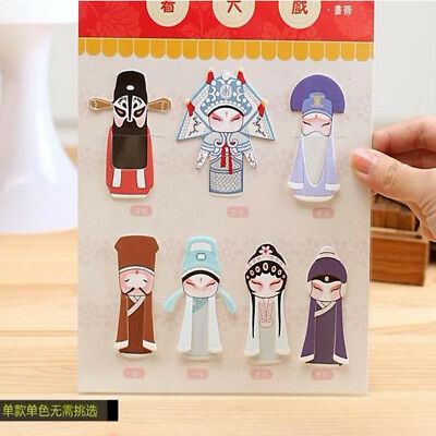 7pcs/Set Beijing Opera Bookmark Book Mark Magazine Note Pad Label Memo Students