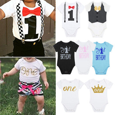 baby girl boy first 1st birthday outfit romper one year bodysuit cake smash gift