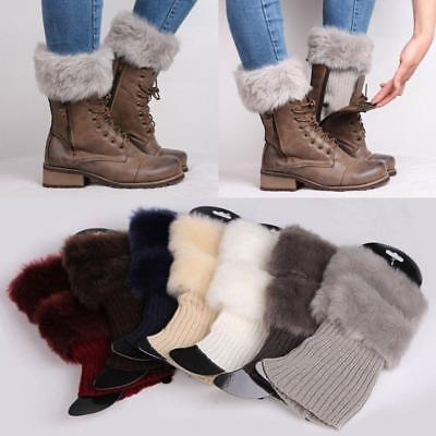 Hot Fashion Womens Crochet Knit Fur Trim Leg Warmers Cuffs Toppers Boot Socks CB