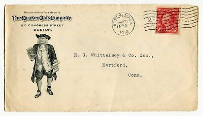 """1916 """"Quaker Oats"""" Illustrated Mailing Envelope [Partial - Front Side Only]"""