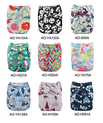 ALVA All In One Cloth Diapers Lot Pocket Sewn-in 4layers Bamboo Inserts U Pick