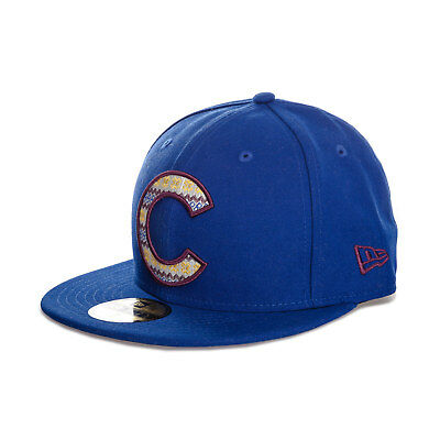 Mens New Era Chicago Cubs Team 59Fifty Cap In Blue-Flat Brim-Button To