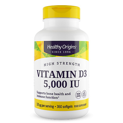 Healthy Origins Vitamin D3, 5000iu x 360 Softgels D-3 5,000IU