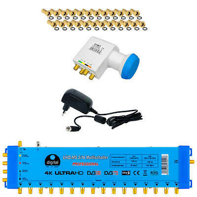 Multischalter 5/16 +LNB Smart Blue Digital SAT Anlage Verteiler HDTV 3D 4K 0,1db