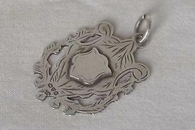 A Fine Antique Solid Sterling Silver Watch Chain Fob Medal Chester 1910.