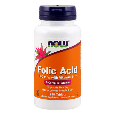 NOW FOODS Folic Acid B Complex Vitamin 250 tablets - acido folico