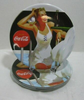Vintage Coca Cola Pool Scene Plastic Plates Coke Gibson Set of 4