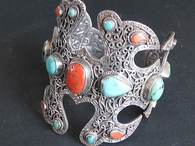 Single Bracelet from Tibet, Solid Silver Turquoise Coral