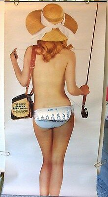 """BEER PINUP GIRL FISH POSTER CALENDAR 1977 ORIGINAL """"Fish for the Bare Facts"""" ADV"""