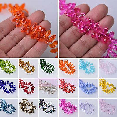 Wholesale 20pcs Teardrop Crystal Glass Faceted Loose Spacer Beads Lot 12X6mm DIY