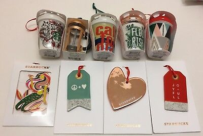 9 Starbucks 2017 Holiday SET Lot Christmas Ornaments - Ceramic California NEW