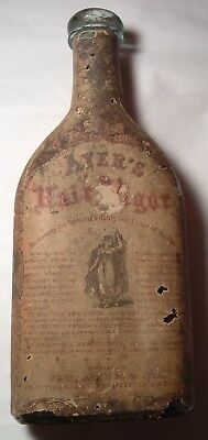 Antique Aqua Bottle with Full paper Label Wrap intact AYER's Hair Vigor Tonic