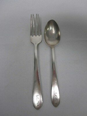 "Antique S Kirk & Son Sterling Silver Baby Feeding Fork & Spoon Engraved ""Wfj Jr"""