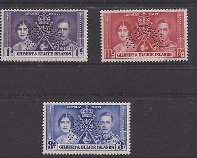 "GILBERT & ELLICE - 1937 CORONATION ""SPECIMEN"" SET MINT SG.40/2s (REF.D1)"