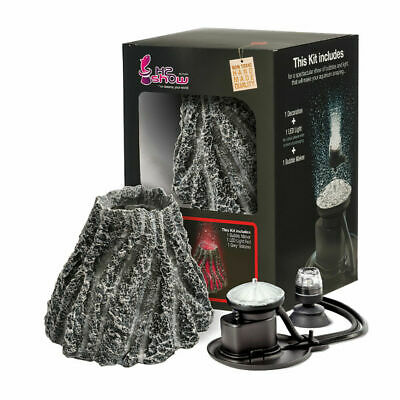 Hydor H2shOw Volcano Ornament Kit Includes Red LED Light & Bubble Maker Air Pump