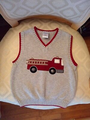 Gymboree Boys Size 2T Firetruck V Neck Sweater ADORABLE!