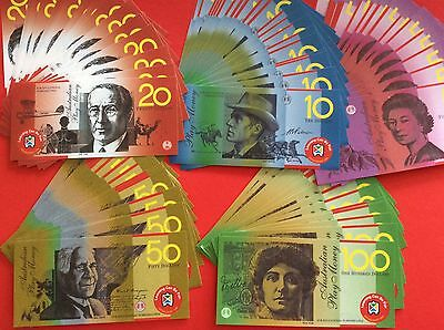 50 x Realistic Australian Play Money  Laminated Notes won't tear Bulk Lot