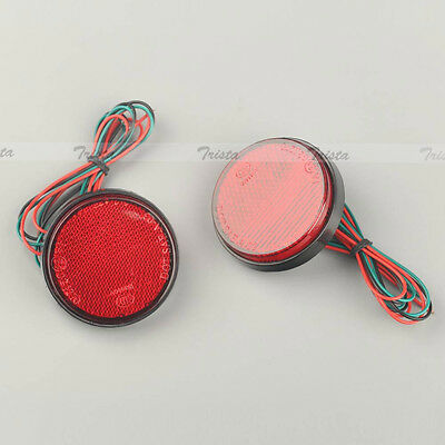 2x24 LED Red Motorcycle Round Reflector Tail Brake Rear Turn Signal Light Lamp C