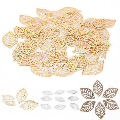 50PCS Lot Leaves Filigree Metal Crafts Jewelry DIY Accessories Pendant Fashion