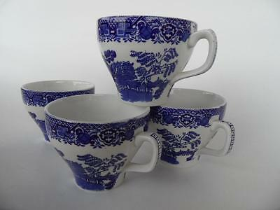 4 X Set Of Vintage Woods Blue White Willow Tea Cups