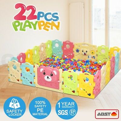 ABST 22 Sided Panel Baby Playpen Interactive  Kids Toddler Baby Room Safety Door
