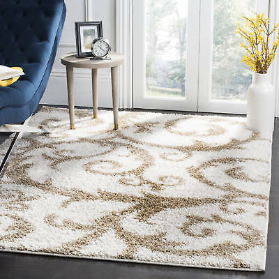 Safavieh New York Shag Contemporary Floral Ivory/ Beige Area Rug (8' x 10')