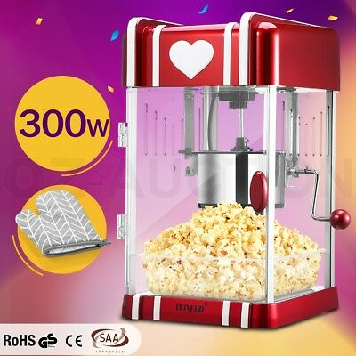 Maxkon Popcorn Machine 300W Home Electric Popper Maker w/ Measuring Spoon - Red