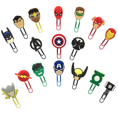 2pcs/lot Avengers Paper Clips Bookmarks DIY Office School Clips Boys Xmas Gift