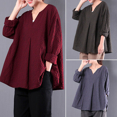 Plus Size ZANZEA Women Long Sleeve Shirt Tops Plaid Check Oversize V Neck Blouse