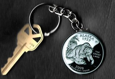 State of ALASKA Quarter Keychain Key Chain Image is 60% larger than quarter