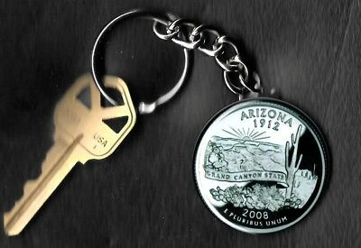 State of ARIZONA Quarter Keychain Key Chain Image is 60% larger than quarter