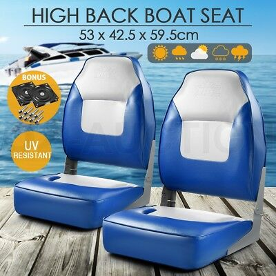 Pair of Folding Boat Seat Marine Fishing Set All Weather Swivels Extra High Back