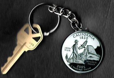 State of CALIFORNIA Quarter Keychain Key Chain Image is 60% larger than quarter