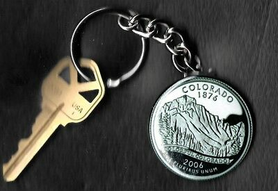 State of COLORADO Quarter Keychain Key Chain Image is 60% larger than quarter