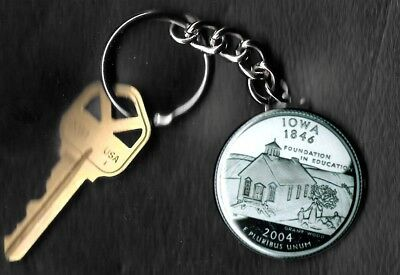 State of IOWA Quarter Keychain Key Chain Image is 60% larger than quarter