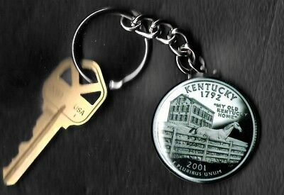State of KENTUCKY Quarter Keychain Key Chain Image is 60% larger than quarter