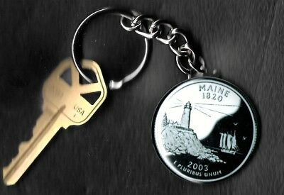 State of MAINE Quarter Keychain Key Chain Image is 60% larger than quarter