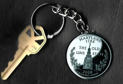 State of MARYLAND Quarter Keychain Key Chain Image is 60% larger than quarter