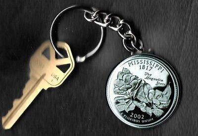 State of MISSISSIPPI Quarter Keychain Key Chain Image is 60% larger than quarter