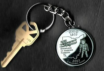 State of OHIO Quarter Keychain Key Chain Image is 60% larger than quarter