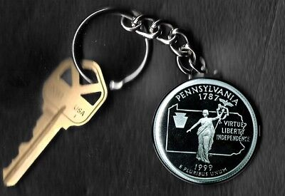 State of PENNSYLVANIA Quarter Keychain Key Chain Image is 60% larger than quarte