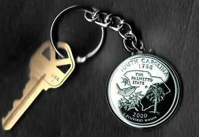 State of SOUTH CAROLINA Quarter Keychain Key Chain Image is 60% larger than quar